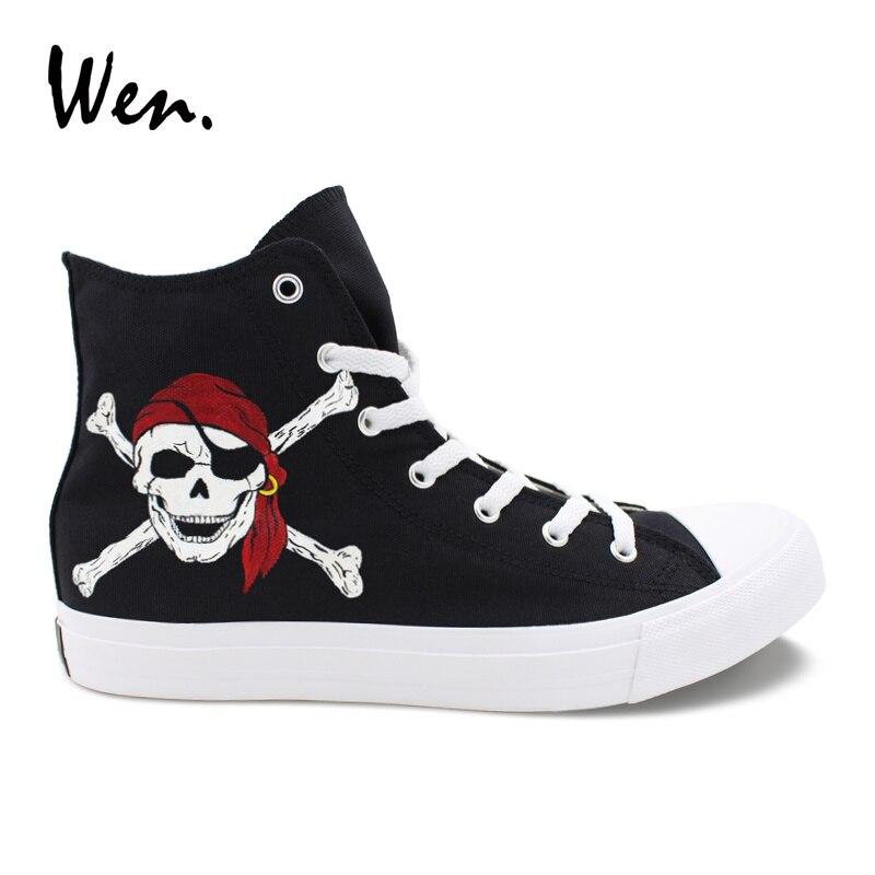 Calzado pintado a mano Wen, diseño de calavera pirata, zapatos vulcanizados para hombres, zapatillas de lona negras, Zapatillas altas para ayudar a los gimnasio, zapatillas planas