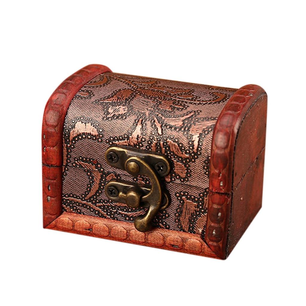 Joyero Vintage de madera, caja hecha a mano con Mini cerradura de Metal para almacenar joyas, Perla del tesoro