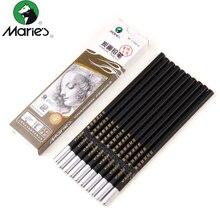 Maries 12 pièces/boîte crayon de charbon de bois doux/neutre/dur noir croquis dessin crayons crayon Non toxique pour lécole
