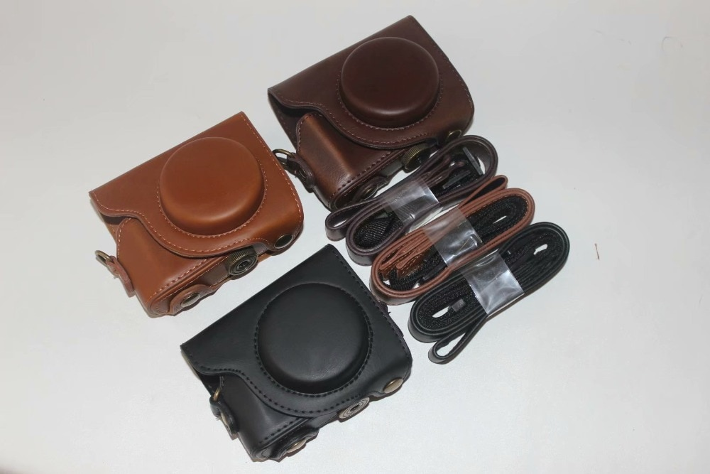 Funda de cuero PU para cámara compatible con cámara Canon S100/110/120/G9X con correa de hombro