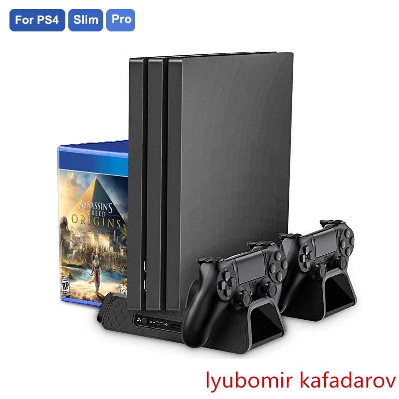PS4/PS4 Slim/PS4 PRO вертикальная подставка с охлаждающим вентилятором кулер двойной контроллер зарядное устройство зарядная станция для SONY Playstation 4 Cool