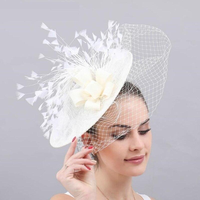 Mujeres banquete Royal Ascot Festival Fedoras sombrero señoras malla hilado plumas moda Cap mujer nupcial Diadema con velo sombreros H7128