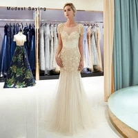 elegant champagne mermaid evening dresses 2019 featuring pearls tassel shoulder prom gown with rhinestone vestido de festa longo