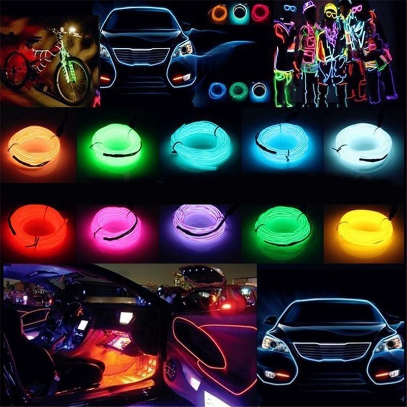 LED Strip Garland EL Wire 1M/3M/5M Car Interior Lighting Auto Rope Tube Line flexible Neon Light Wit