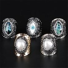 Mauvais œil naturel perle breloque strass perles noir anneau redimensionnable martelé ouvert enveloppé anneau manchette pour femmes homme