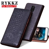 rykkz genuine leather flip cover for meizu 15 mobil phone case stand leather protective case mobile phone cocer for 15 plus