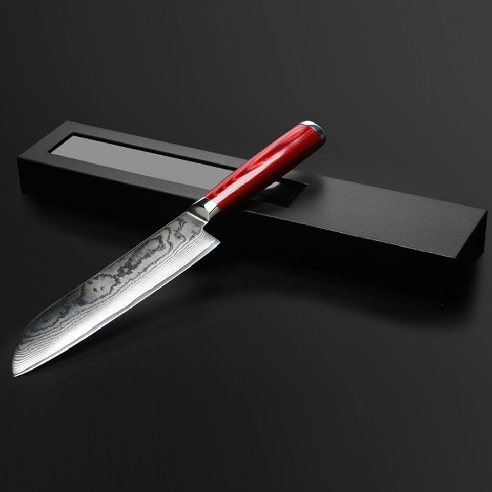 Купить с кэшбэком FINDKING new damascus steel color wooden handle damascus knife 7 inch chef knife 67 layers damascus steel kitchen knife