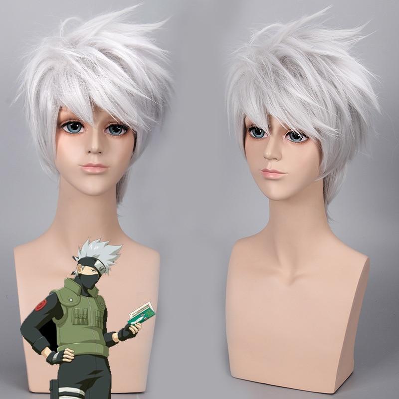 Anime japonés NARUTO, Peluca de Hatake Kakashi, Cosplay de Hatake para hombre, peluca de pelo blanco plateado de Kakashi, disfraces de juego de rol de cómic-con SOUL EATER