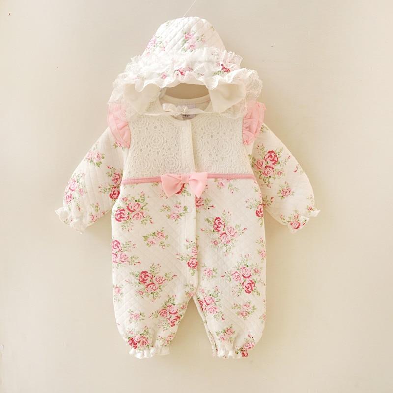 Зимняя одежда для новорожденных девочек, утепленный комбинезон принцессы с цветочным рисунком, комплекты одежды, боди для девочек + шапки
