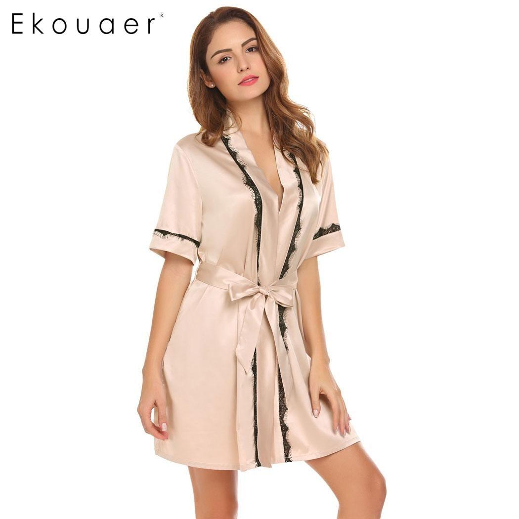 Ekouaer mujeres camisón bata Kimono de verano bata de baño de manga corta batas de satén dama vestido de ropa de dormir de Casa de dama de honor