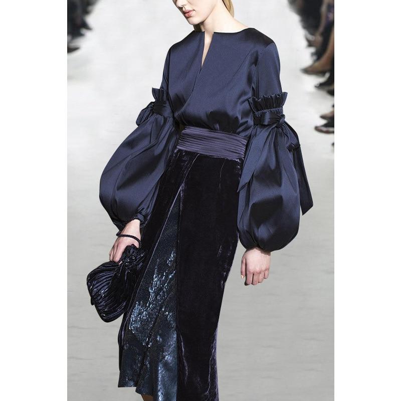 Plus Size S-XXXL Elegant Women Velvet Skirt Suits Puff Sleeve Blouse Slim Skirt Runway Skinny Twin Sets High Quality