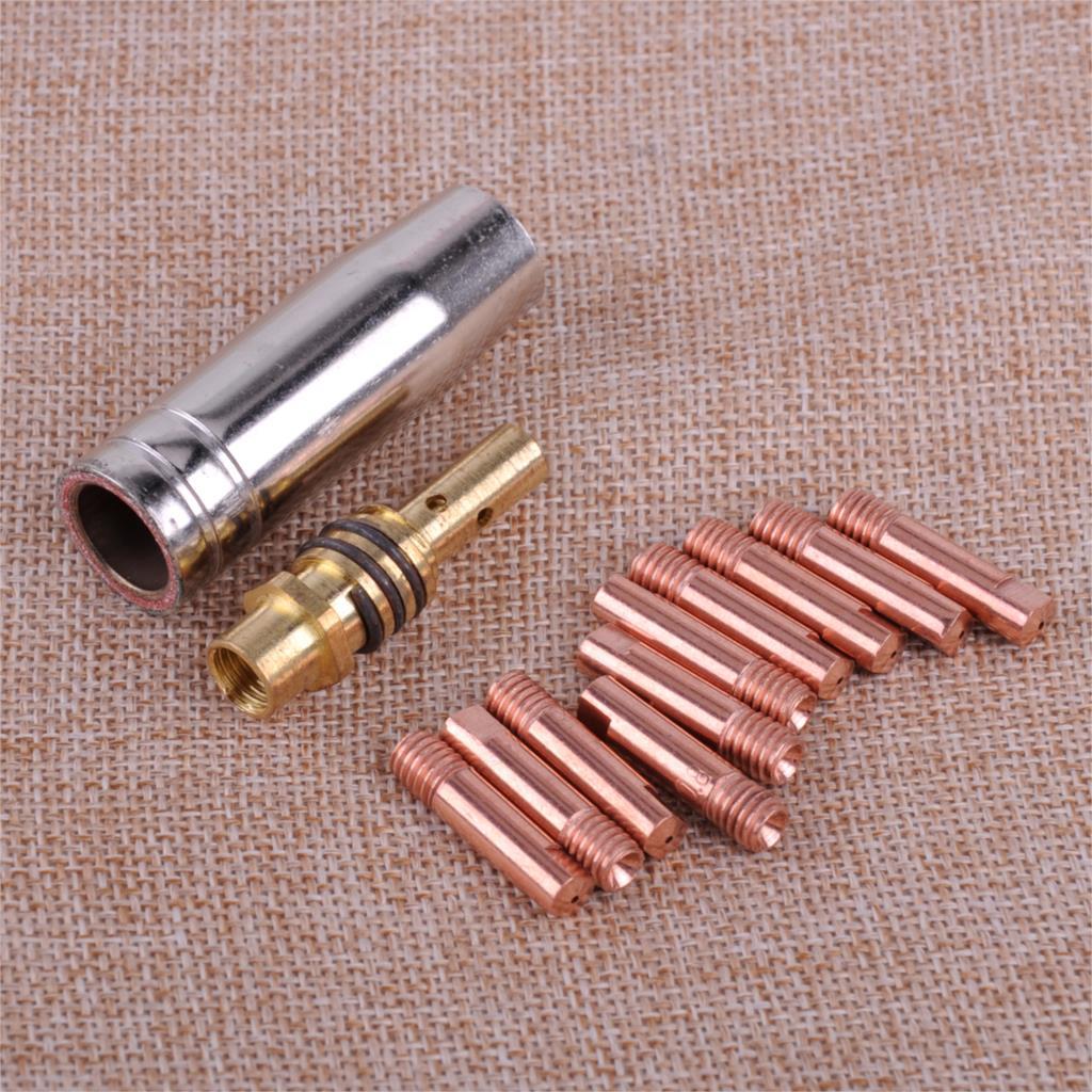 LETAOSK Новый 12 шт. MB 15AK MIG/MAG сварочный фонарь с контактным наконечником 0,8x25 мм M6 газовая насадка комплект с держателем