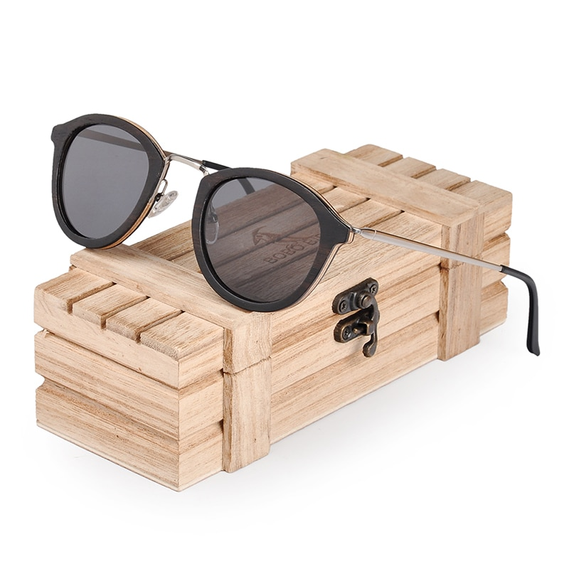 BOBO BIRD gafas de sol de madera para hombre, gafas de sol polarizadas con patas de Metal, LOGO personalizado Neutral Plus empaquetado en caja de madera, triangulación de envíos