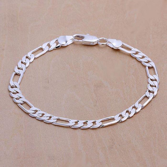 ¡H219 venta al por mayor! 925 joyería pulsera chapada en plata 925 joyería encanto pulsera 6mm pulsera plana