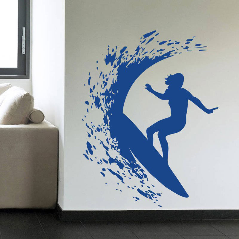 Serie de deportes extremos pegatinas de pared surfista Girl Surfing On The Sea con tabla de Surf Cool Wall Sticker murales Home Cool Decor 3YD33