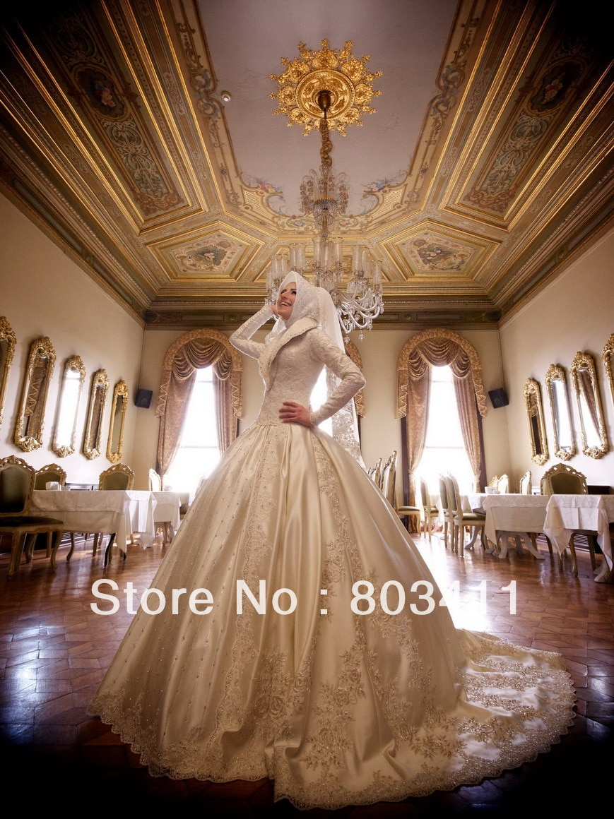 Freeshipping طبعة محدودة فاخرة الأميرة طويلة الأكمام فستان الزفاف الزفاف