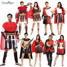 Traje de fiesta de Carnaval de Halloween umarden, pareja de adultos, armadura griega romana, soldado, Guerrero, Gladiador, Disfraces para hombres y mujeres