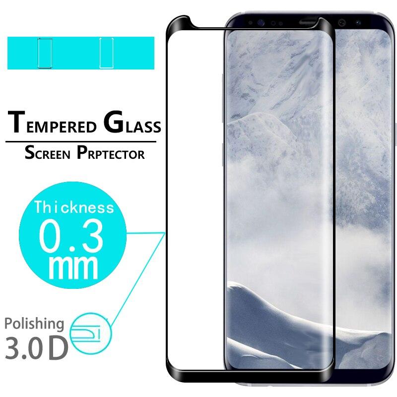 Filme de vidro de cobertura completa de borda curvada 3d para samsung galaxy s8 SM-G950F filme protetor de tela de vidro temperado anti-risco