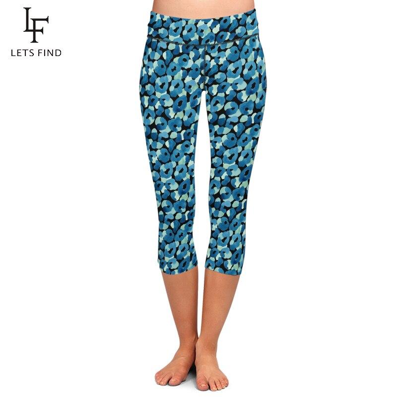 LETSFIND verano nuevo diseño mujeres Capri Leggings alta cintura alta calidad leche seda estampado media pantorrilla Fitness Leggings Plus tamaño
