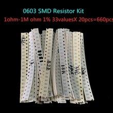 0603 SMD Widerstand Kit Assorted Kit 1ohm-1M ohm 1% 33valuesX 20 stücke = 660 stücke Probe Kit