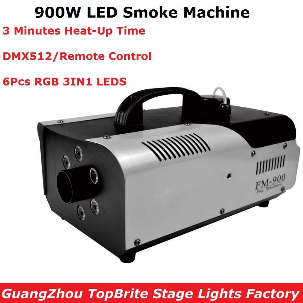 DMX / Remote Control LED 900W Fog Machine DMX Stage Smoke Machine With 6Pcs RGB 3IN1 LEDS LED Smoke Ejector LED DJ Party Machine