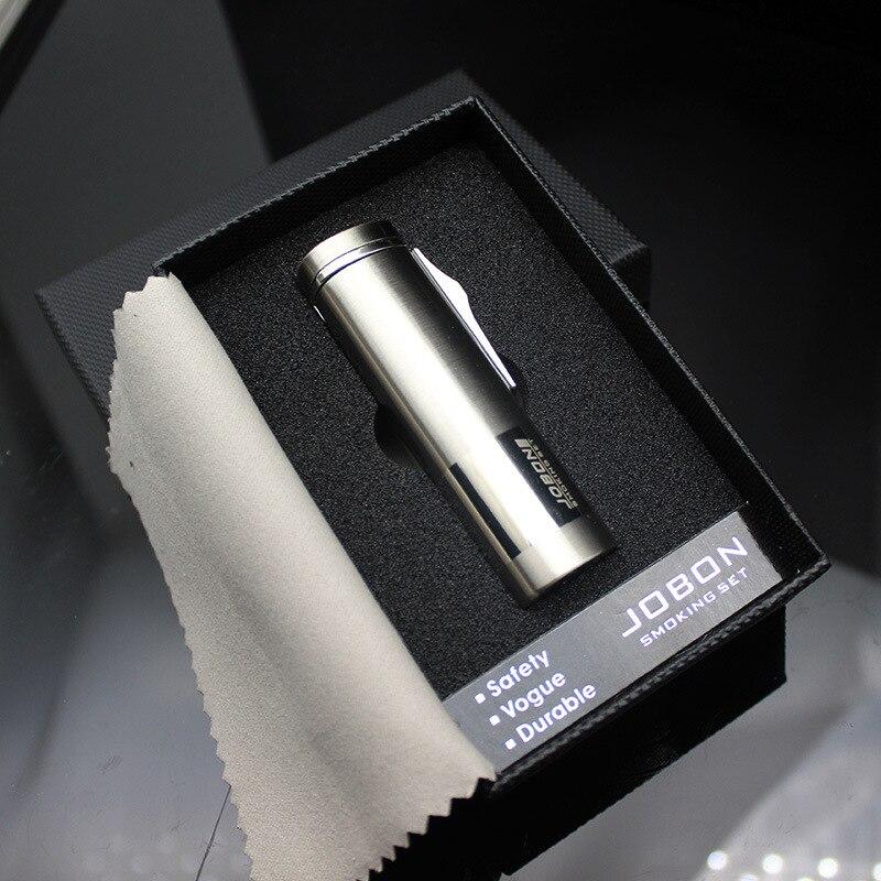 Hohe Qualität Zylinder Spalte Metall Textur 3 Düsen Schweißen Fackel Leichter Butan Gas Zigarre Zigarette Leichter Geschenk Paket
