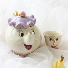 Chá dos desenhos animados conjunto de beleza e a besta sra. potts bule chip cup conjunto cogsworth relógio adorável presente criativo chá leite drinkware