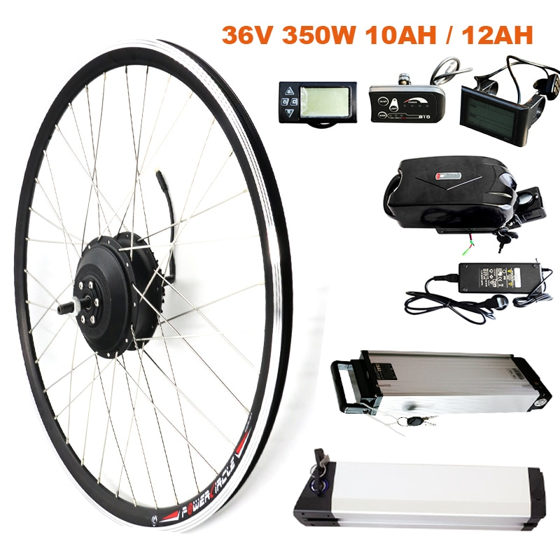 Kit de conversión JS EBike 350W con batería de litio de 36 V, Motor eléctrico de cubo de bicicleta, Kit de conversión de bicicleta eléctrica