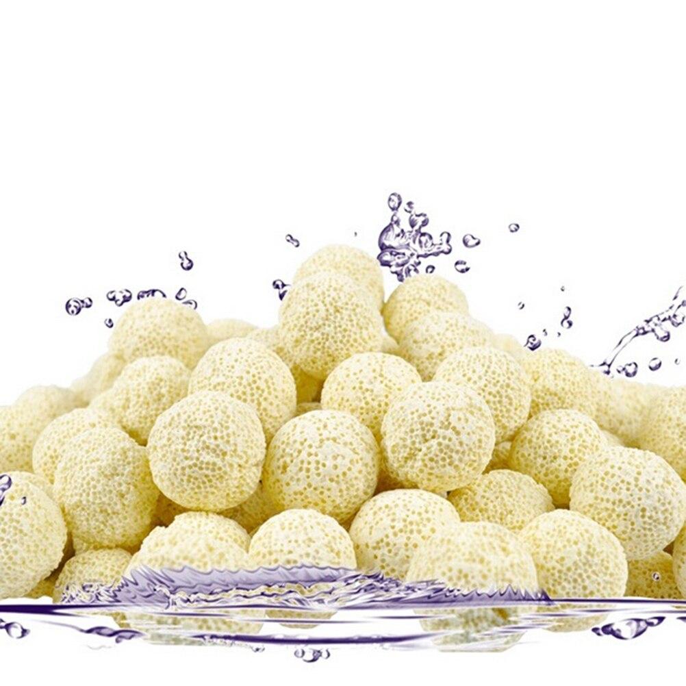 Filtro biológico de bolas de cerámica para acuario, filtro Bio poroso, bolsa de red, Material antibacterias nitrificante, Herramientas de limpieza amarillas, 10 Uds.