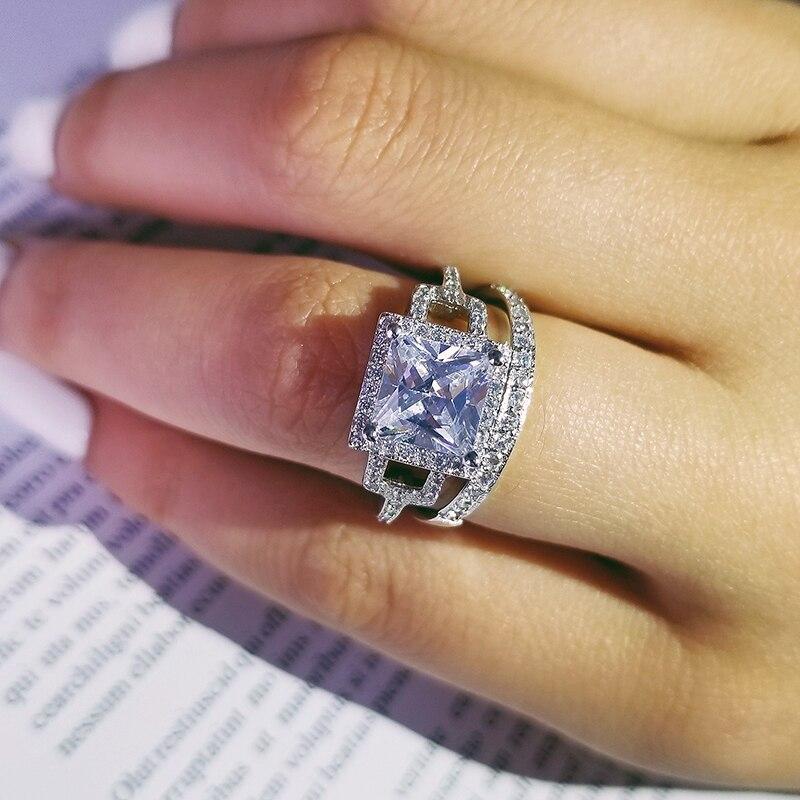 Original 925 en argent sterling pincess coupe zircone bague de mariage ensemble pour les femmes mariée fiançailles bijoux bande éternité cadeau R4861