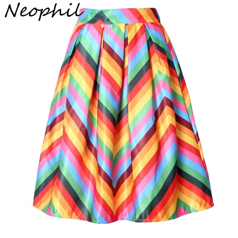 Neophil Arco Iris rayas flecos impreso 2020 verano falda de cintura alta Femme volante plisado Flare Satin A-Line mujeres faldas S07048