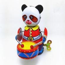 Модный новый Детский Милый Винтажный коллекционный подарок, Ретро стиль, ударник с пандой, оловянная игрушка, заводные ударные барабаны