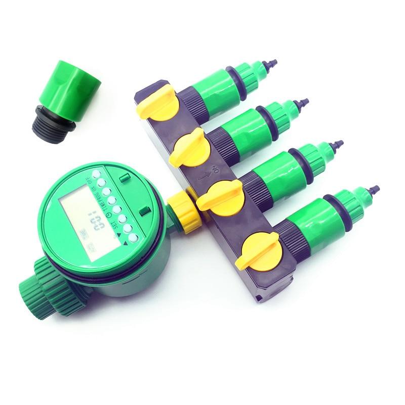 1 set (7 pcs) Home Garden irrigation Drip timer Pipe Splitter 4 Way Tap Connectors  Quick Connector 3/4 Screw thread interface