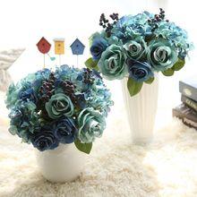 Silk Blue Rose Bouquet Multiple Layers Artificial Flower Vivid berry Wedding Bridal Hand Flowers Home Office Garden Decoration