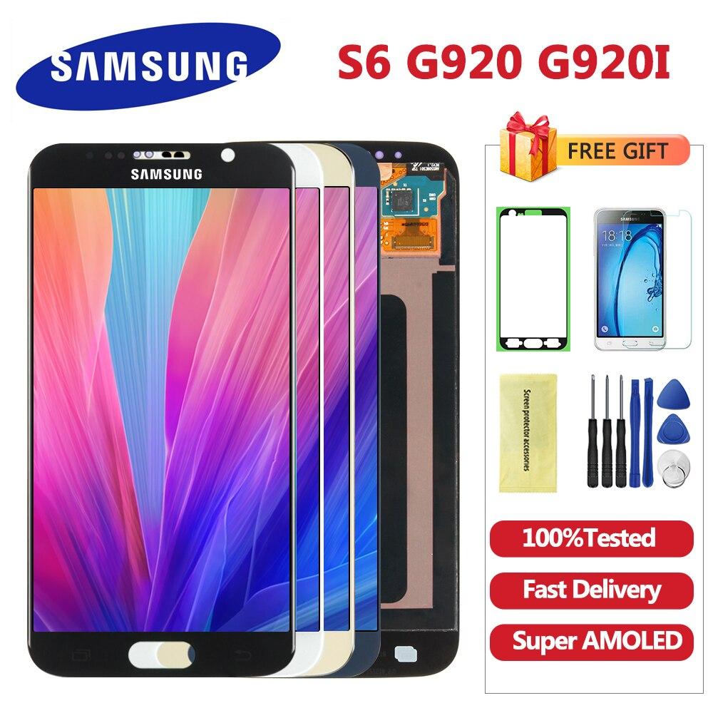 5.1 super super amoled lcd s6 g920 g920f display 100% testado substituição do conjunto da tela de toque para samsung galaxy s6 digitador