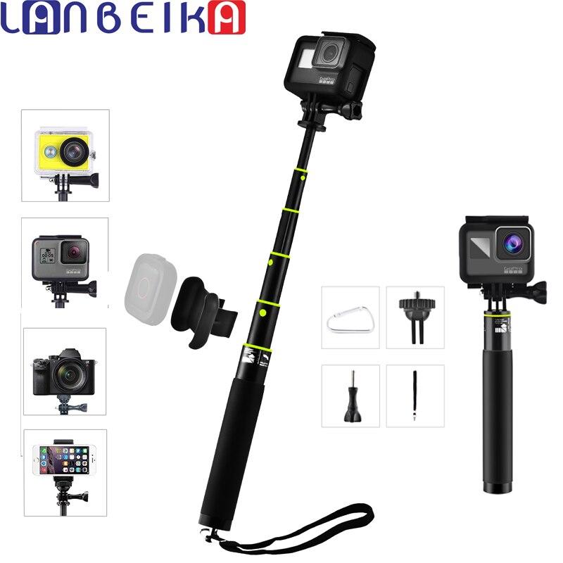 LANBEIKA Mini Selfie palo plegable trípode Monopod + titular remoto para IOS iPhone X 8 7 Plus Gopro héroe 6 5 4 3 + SJCAM Cámara