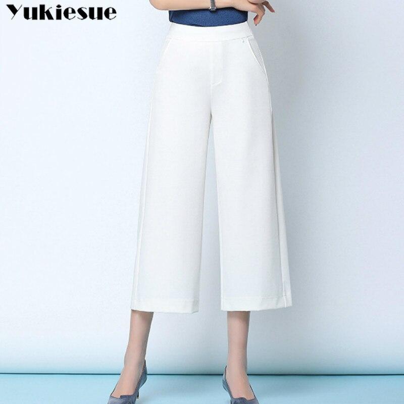 streetwear summer women's white work pants female high waist wide leg pants capris for women trousers woman Plus size 5xl 6xl