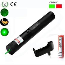 Лазерная указка, зеленый/красный цвет, 532 нм, 5 мВт, 303 лазерная ручка, регулируемая, звездная, с зарядным устройством 18650