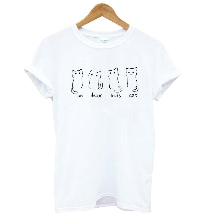 Un Deux Trois Cat print Women tshirt Cotton Casual Funny t shirt For Lady Yong Girl Top Tee Drop Ship S-188