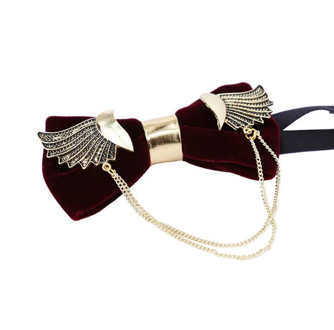 Fashion Stylish Golden Metal wings Black velvet Bow Tie Fashion Lovely  Personality Butterfly Men Bowties For Wedding