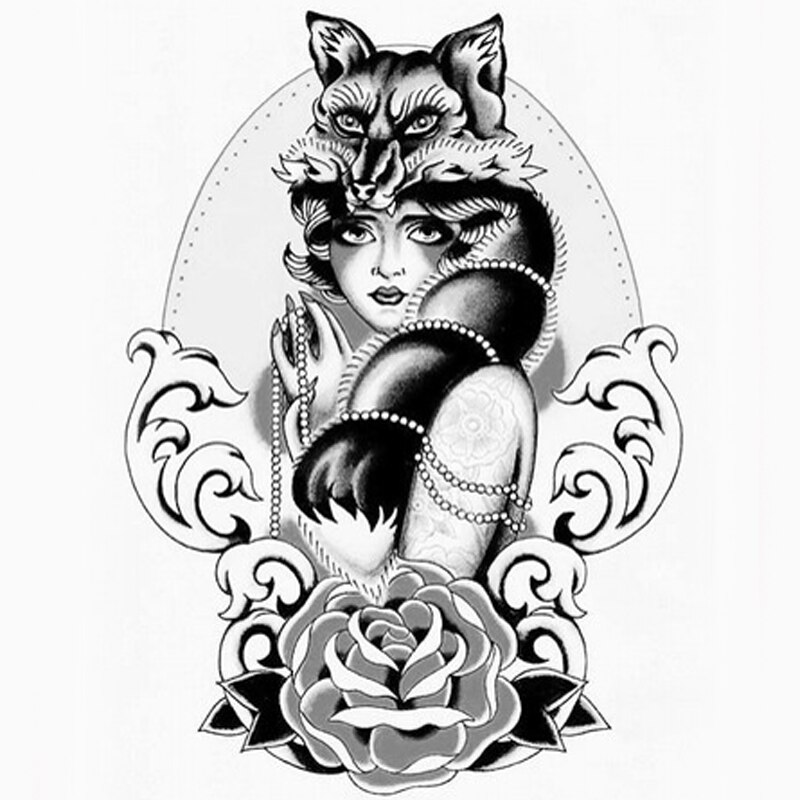 Fox femal tatuaje temporal pegatinas sexi mujer manga tatuaje Rosa mujer taty para hombres mujeres arte cuerpo pegatina