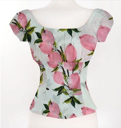 Candow olhar mulher algodão rosa limão impressão fora do ombro babados sexy topos rockabilly design baixa volta branco pino acima blusa camponesa
