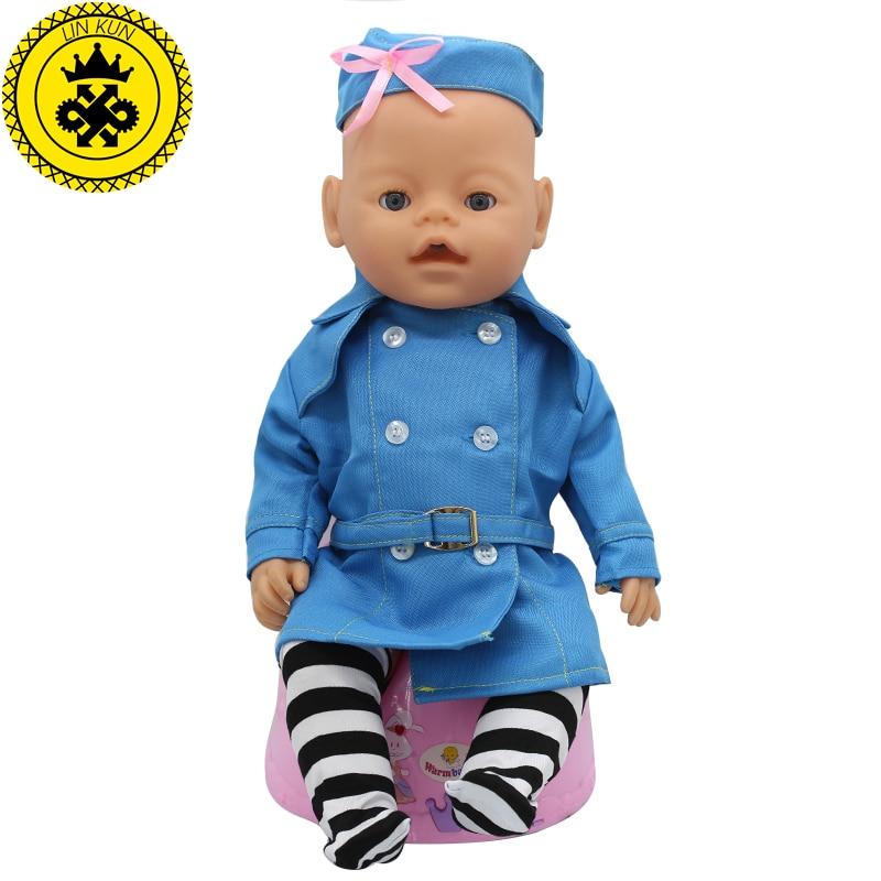 Baby Doll Dress Clothes Fit 43cm Baby  Blue Stewardess Business Attire Hat Doll Accessories Handmade Fashion 065