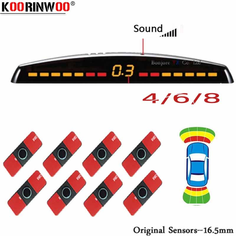 Koorinwoo LCD Parktronics الأصلي 4/6/8 مجسات 16.5 مللي متر سيارة السيارات عكس كاشف رادارات وقوف المساعدة الرادار تنبيه