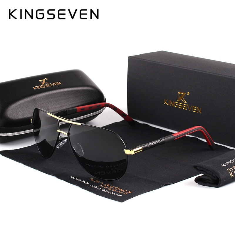 KINGSEVEN Men Vintage Aluminum Polarized Sunglasses Classic Brand Sun glasses Coating Lens Driving E