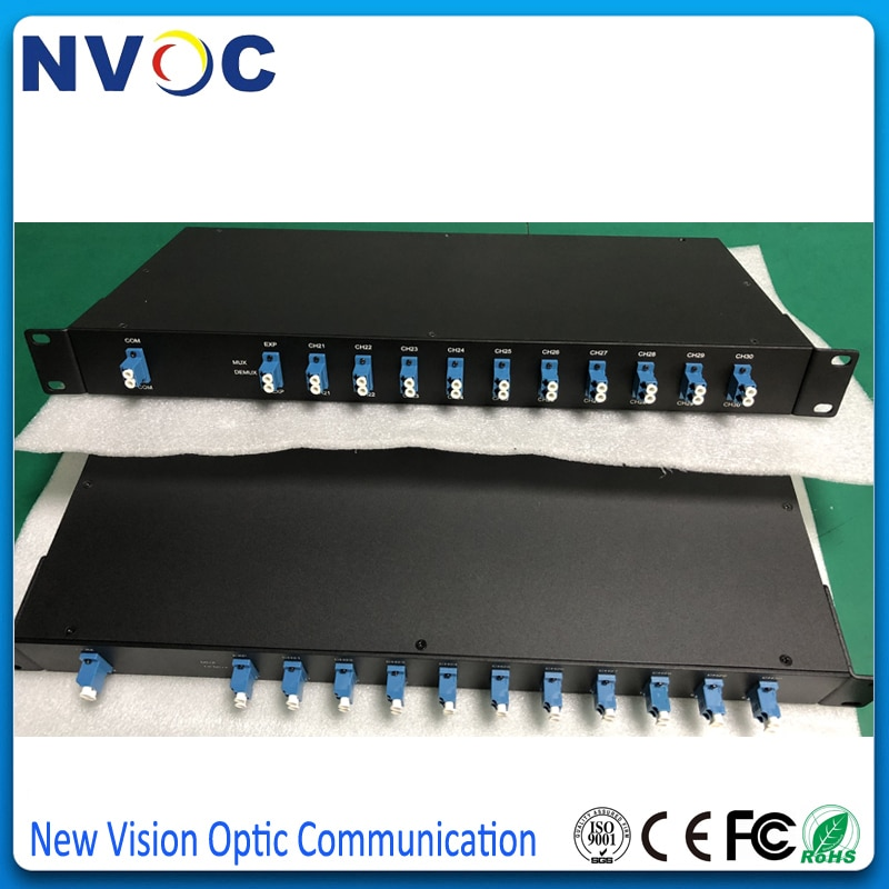 Estante de 19 pulgadas 1U 8 + 1CH CWDM Mux + Demux Al Rack, doble fibra LC/UPC 1470nm-1610nm, estante de fibra óptica 8 canales CWDM Mux Demux