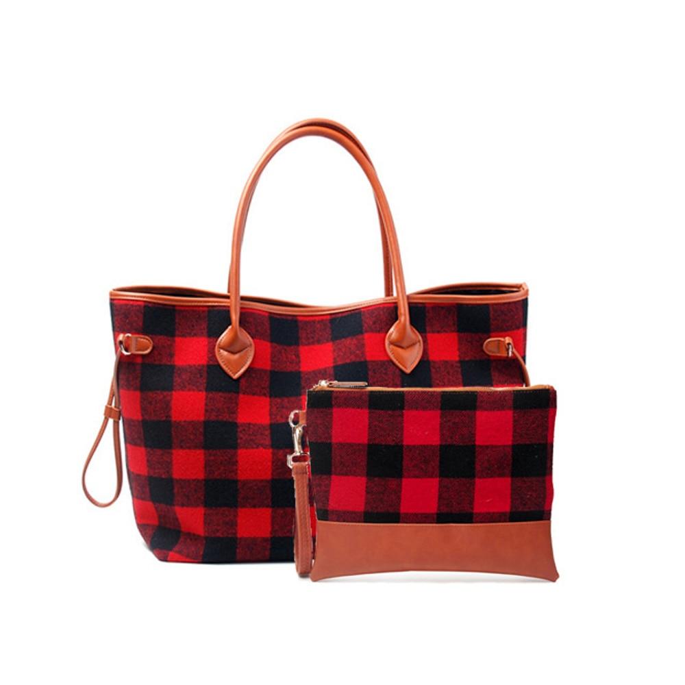 Red Buffalo Check Handbag Set Wholesale Christmas 25pcs Lot Plaid Tote Composit Purse Travel Tote DOM377