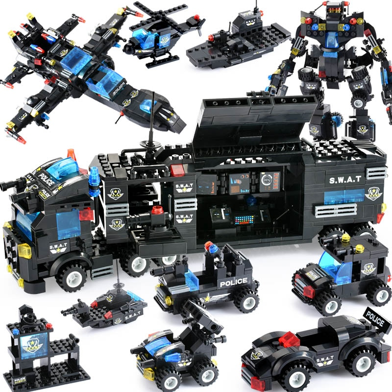 725PCS 8 in 1 City Police Series Building Blocks Vehicle Car Helicopter Police Station Blocks DIY Bricks For Children Gifts lepin 02081 city police the coast guard head quarters building blocks boat helicopter sea exploration ship rescue 60167 brick