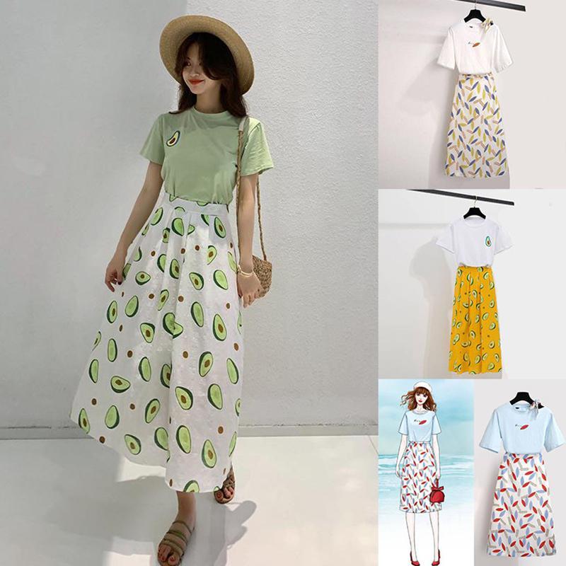 Yfashion 2 pçs/set Mulher T-shirt Da Forma do Algodão Impressão de Abacate-cintura Alta Saia Plissada Doce Estilo Conjunto de Roupas de Verão
