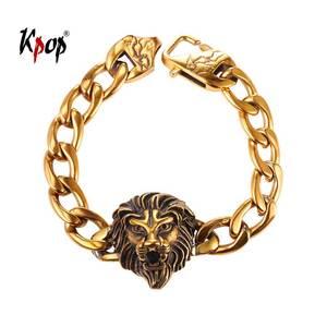Kpop Lion Head Bracelets Hiphop Punk Statement Jewelry Gold Color Stainless Steel Charm Bracelets for Men Gift GH2555